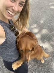 A neighbor's dog giving me a hug on a walk (Grace LOVES hugs)