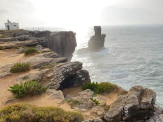 Nearby rocky enclaves at the surfing town of Peniche, 25 minutes away.