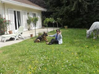 Me and 'the pets', at my mother's house in France (near Paris)
