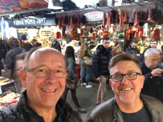 Charles and Sean at the market in Barcelona.