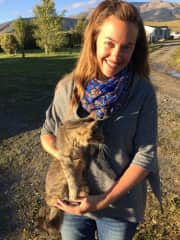 Andrea with a ranch kitty in Chile