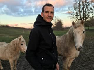 my husband and horses in Belgium where we spent our Christmas 2018 via THS