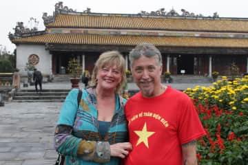 T & M exploring temples in Asia