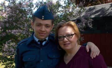 Me with my handsome son Nolan.  He has been an Air Cade for 5 years and has ranked up to Warrant Officer, 2nd Class.  So proud!