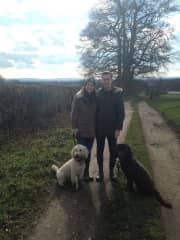 Matt and I walking Molly and Hattie (Labradoodles)