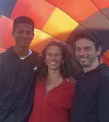 Me, my son, and partner getting ready to go hot air ballooning.