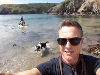 Pete, Jane, Legs the horse & Dexter our border collie