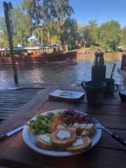 Vegetarian meal by the river