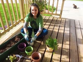 Me creating my outdoor herb garden