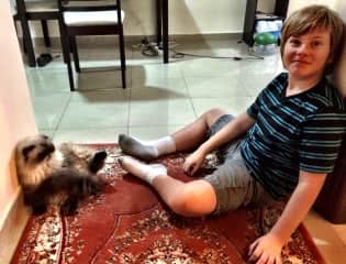 Isaac (the boy)and Tommy (the cat)