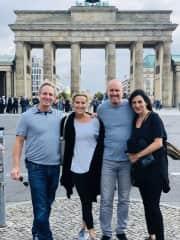 Boyfriend, me, boyfriend's brother, brother's wife at Brandenburg Gate, Berlin September 2019