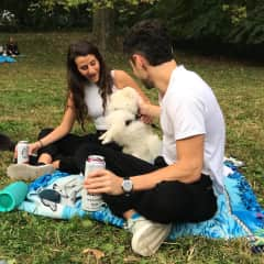 Nick and I enjoying a picnic where we were interrupted by this bouncy floofball who ran away from his owner. Best interruption ever.