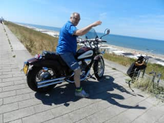 me and my motor on beach Holland