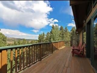 The view from our deck. Enjoy a glass of wine or a cup of coffee from our deck with a view! Sunsets are beautiful here!