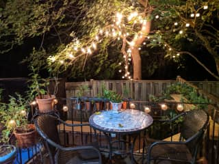 Backyard with small patio