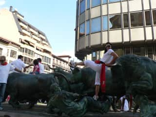 Spain, anticipating running with the bulls.
