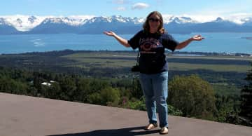 Paulette showing off the mountains in Homer, AK!