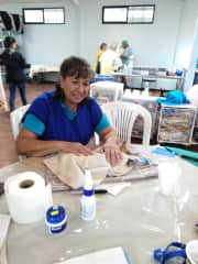Sheila, volunteering at our local animal spay and neuter clinic in Boquete, Panama