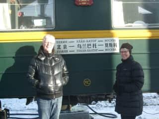 John and Denise on the Trans Siberian railway