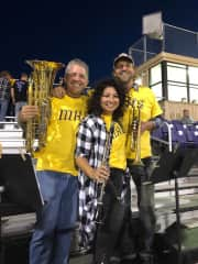Helping my friends start a high school pep band at a football game