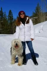 Lisa with Sebastian, the English Sheepdog who always looked forward to long walks on the snowy trails