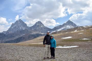 Our Grand Teton NP backpacking trip. My boyfriend and myself feeling proud.