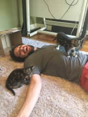 Getting our foster kitties acquainted with us! This is when we just brought them home.