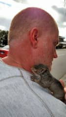 John and Speedy, the baby squirrel we rescued in Chilliwack, BC