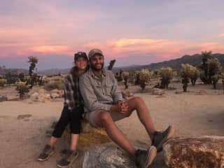 Mary and Adam enjoying a beautiful desert sunset at Joshua Tree National Park
