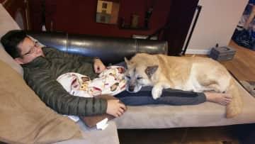 Ben w/ Tofu who thinks she's a lapdog
