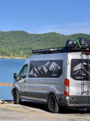 Swimming and hiking across country in our conversion van!