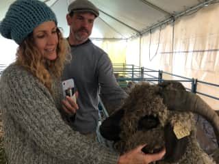 Me and hubby at the Wool and Sheep Festival giving out some love