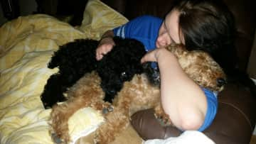 Amy loves to snuggle pups!