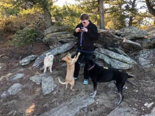 My hiking crew. Yes someone is taking a picture of me taking a picture of the dogs :)