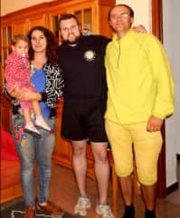 Our family with hospitable Victor in his apartment, Zaragoza, Spain