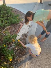 Here I am with my friends daughter. She was picking flowers on a nice summer day.