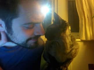 Marley-Cat gives Julian a nose boop