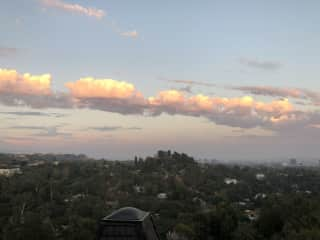 We have a gorgeous view of the LA basin, facing east. . .sunrise and moonrise are wonderful.