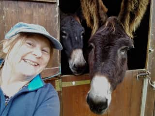 Me and Thalia and Tessa the Baudelais donkeys, St Coutant, France (Oct 2019)
