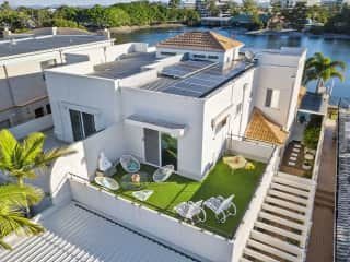 Aerial view of outside terrace leading off guest bedroom