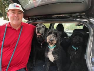 Chip with the Southfields Three.  Murphy, Ron and Bailey