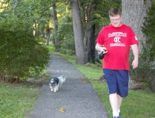 Lucy walking with Tom