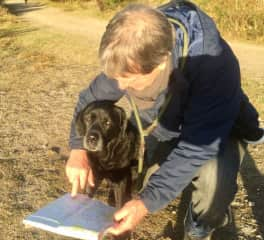 David consulting Zola (and the OS map)