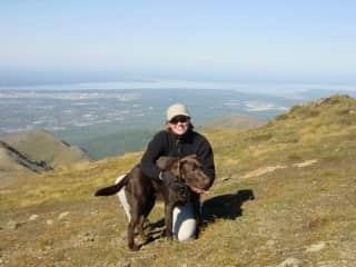 Bosco & Sandra hiking Flattop Mountain, Anchorage, Alaska