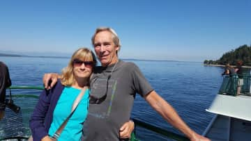 Joan and Paul on a ferry in the San Juan Islands.