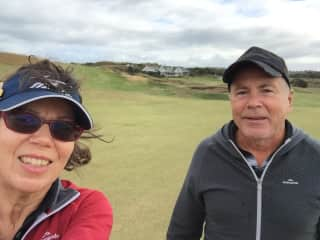 Bruce and Jane at the Dunes golf course in Mornington Peninsular