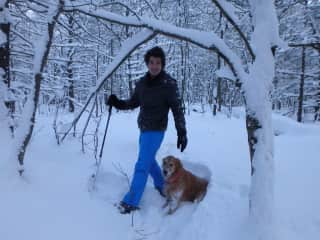 Jake and Oakley snowshoeing in Northern Ontario