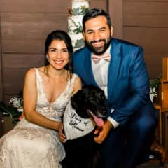 Our wedding day, with our dog, Aria, as Dog of Honor!