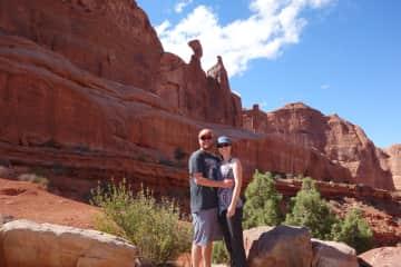 Mike & Susan hiking at Arches National Park, Utah