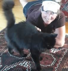 Me with Maude, a lovely fluffy Wanaka cat I looked after in 2017 for six weeks.